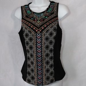 """ALYA Women""""s Black embroidered front Tank Top Sz M"""